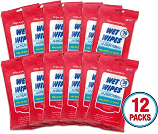 Wipessentials Antibacterial Wet Hand Wipes 30ct x12 (Total 360 wipes) Kills 99.9% of Household Germs - Fresh Scented Alcohol Free Moisturizing Antimicrobial Protection of Flu Season for Adults & Kids