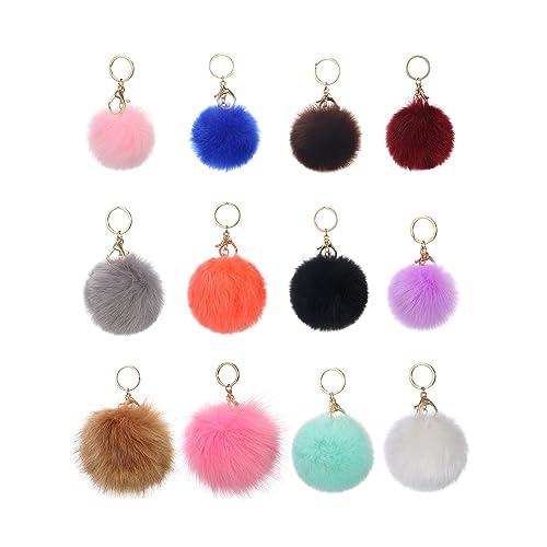 434af4dfa70a WILLBOND 12 Pieces Faux Fur Ball Pom Pom Keychain Fluffy Ball Key Chain  with Key Ring