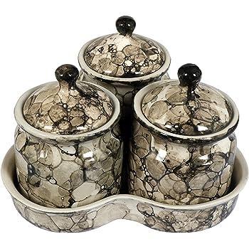 RAJ ROYAL Ceramic Storage Jar and Tray for Pickle Crockery (Brown) -Set of 3