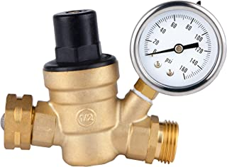 SAIDE Water Pressure Regulator Valve, Brass Lead Free NH Connector Adjustable Water Pressure Reducer Valve for RV Travel Trailer Camper with Gauge and Inlet Screened Filter