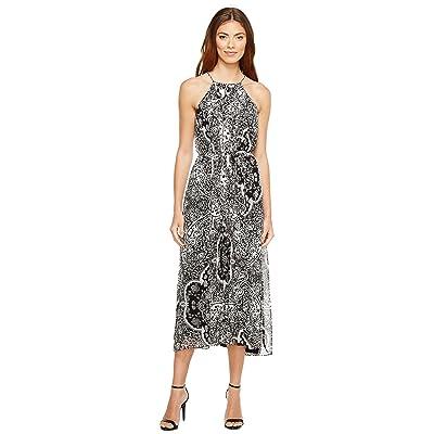 Donna Morgan Pleated Midi Dress with High-Low Hem (Black/Ivory Multi) Women