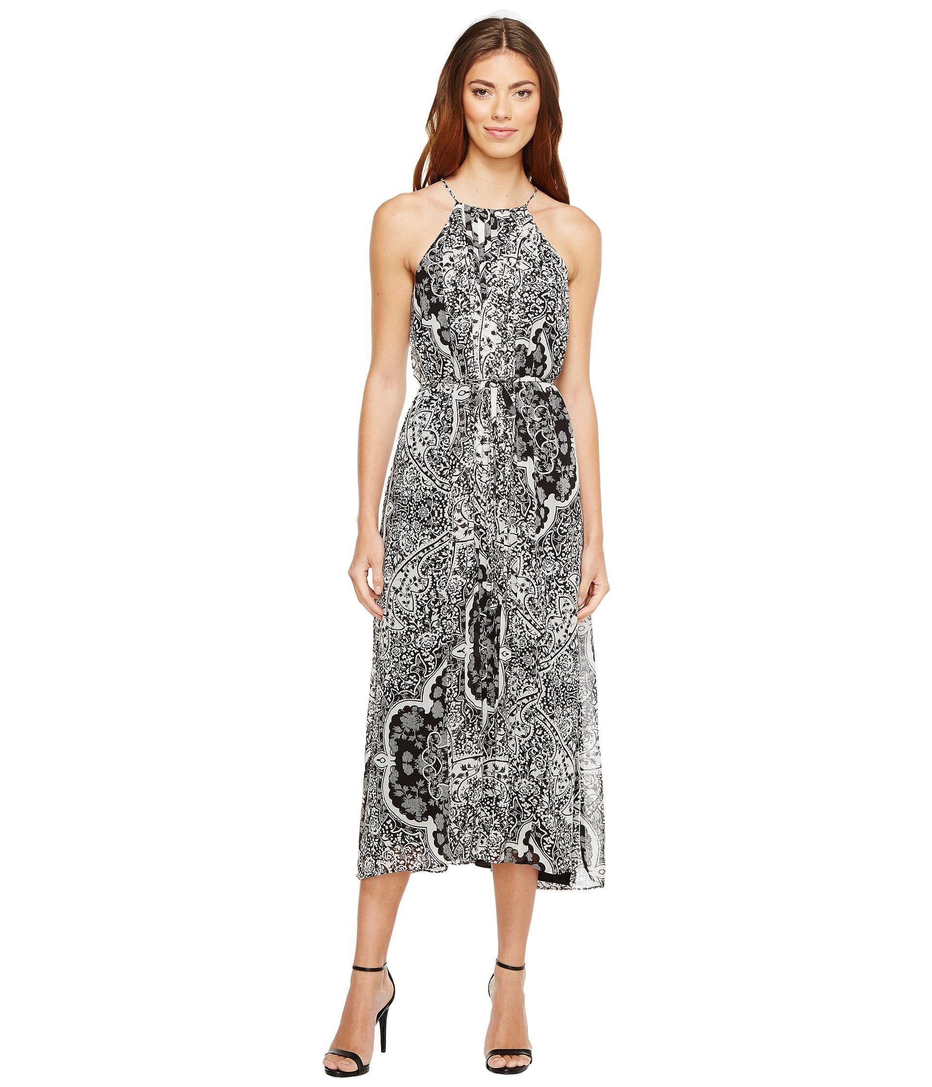 32c751029b0 Donna Morgan Pleated Midi Dress With High-Low Hem, Black/Ivory Multi ...
