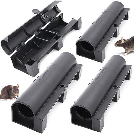 4 boîtes pour appâts anti rats + Ebook   Poste d'appâtage professionnel pour pose de poison rodenticide   piege pour raticide pour l'intérieur et l'extérieur   mort aux rats   Boite pour dératisation