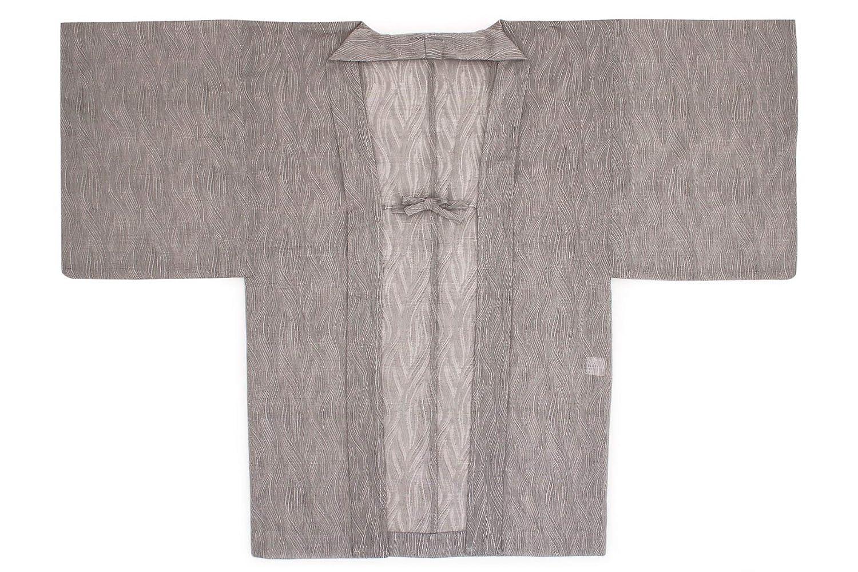 (ソウビエン) 長羽織 灰色系 グレー 鳩羽鼠色 波 紗 米沢織 レース 単衣 カジュアル 洗える 女性用 レディース 日本製 フリーサイズ
