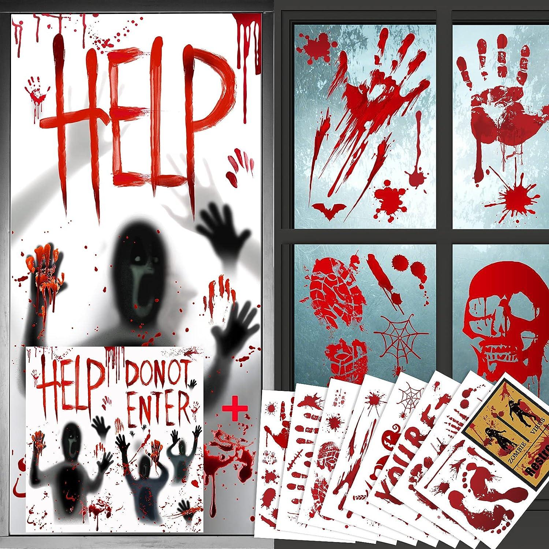 Bloody Halloween Decorations- 2 Sets Halloween Window Clings Poster & 8 Sets Bloody Handprint Decal Door Stickers, Indoor Outdoor Decor for Halloween Party Decorations