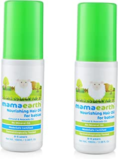 Nourishing Baby Hair Oil with Almond & Avocado for Babies and Kids (Pack of 2), Made in the Himalayas- All Natural with Organic Ingredients