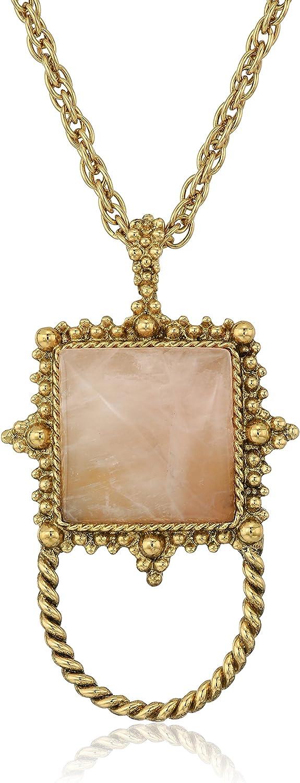 1928 Jewelry Womens Max 63% OFF Gold-Tone Semi-Precious Quartz Square Rose E Bargain sale
