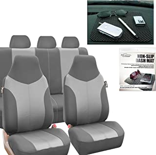 FH Group FB101115 Supreme Twill Fabric High Back Seat Covers Light/Dark Gray (Airbag Ready and Split) W. FH1002 Non-Slip Dash Pad-Fit Most Car, Truck, SUV, or Van - Fit Most Car, Truck, SUV, or Va