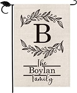 SMILE Personalized Garden Flag, Customized Monogram Initial Family Last Name Flower Leaves Wreath, Double Sided 12.5 x 18 Inch Rustic Farmhouse Burlap Yard Outdoor Decoration