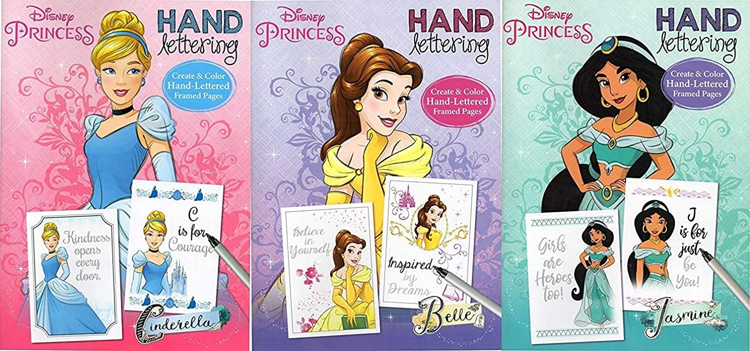 Disney Princess - Hand Lettering - Coloring & Activity Book (Set of 3 Books) Cinderella,Belle and Jesmine