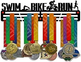 VICTORY HANGERS Zwemfiets Run Medal Houder Display Rack - 3 Bars Zwart Gecoat 3 mm Staal Metalen Hanger met Wandmontage St...