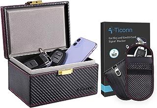 $29 » TICONN Faraday Bag for Key Fob (2 Pack, Carbon Fiber Texture) & Faraday Box (Carbon Fiber Texture), Car RFID Signal Blocki...