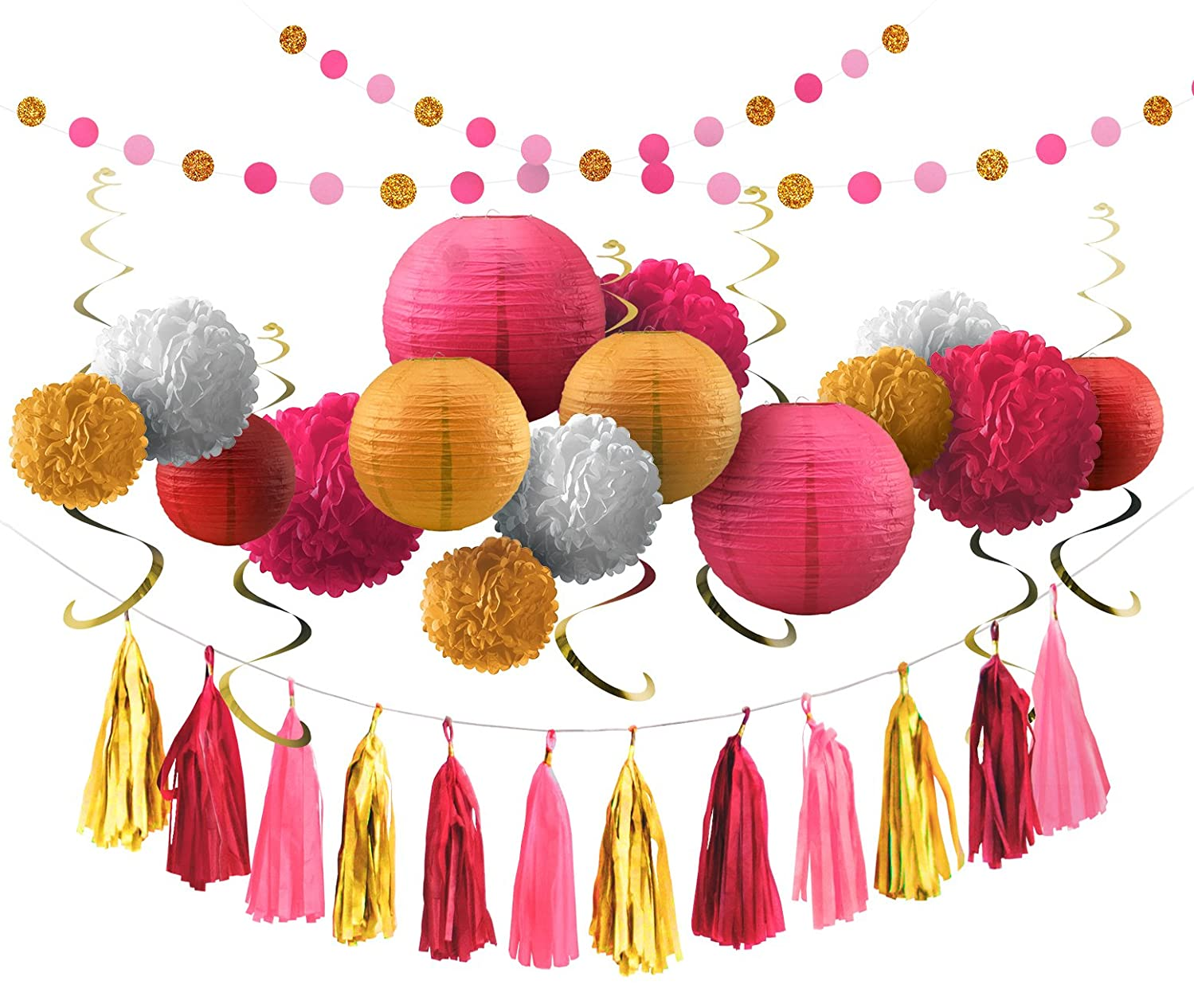 Voplop Party Tissue Decorations of 35 pcs - Paper Pom Poms and Lanterns - Circle and Tassel Garlands - Glitter Hanging Swirls - For Baby Showers - Birthday Party - Weddings