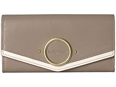 See by Chloe Aura Large Leather Wallet (Motty Grey) Wallet Handbags