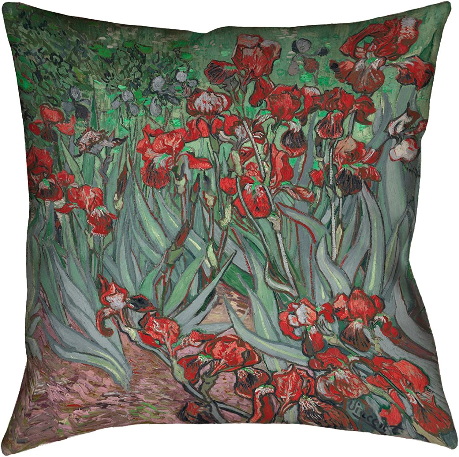 ArtVerse Vincent Van Gogh 14  x 14  Cotton Twill Double Sided Print with Concealed Zipper & Insert Irises in Red Pillow