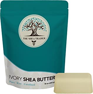 Unrefined Raw Ivory Shea Butter - Pure from Ghana, Africa - Ultimate Moisturizer for Dry Skin, Eczema, Natural Stretch Mark Cream, Leave in Conditioner - Use on Hair, Face, Body - Shea Trader