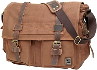 Berchirly Vintage Classic Army Messenger Shoulder Bag Canvas Cow Leather Cross-body Bags