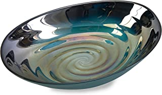 IMAX 83101 Moody Swirl Glass Bowl with Glossy Finish in Ocean Colors – Food Safe..