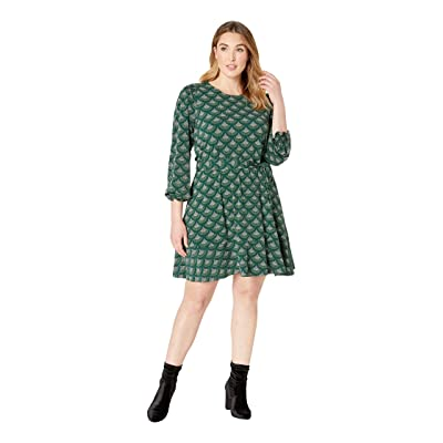 MICHAEL Michael Kors Plus Size Chandelier Smocked Long Sleeve Dress (Dark Emerald) Women