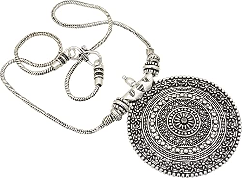 Sasitrends Oxidised German Silver Pendant Necklace for Women and Girl's