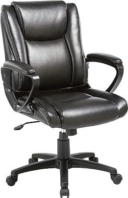 Lorell Soho High-Back Leather Chair, Black
