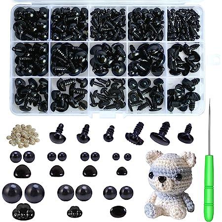 Healifty 100Pcs Plastic Safety Eyes Black Dolls Eyes Craft Eyes with Gasket for DIY Teddy Bear Doll Stuffed Animals Puppet Doll Making 5mm