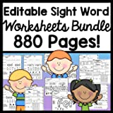 Editable Sight Word Worksheets {4 Sets of Worksheets!} {880 Sight Word Practice Pages!}
