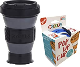 Pokito Pop Up Cup 475ml Pocket-Sized Reusable and Travel Mug - One Mug Pops to Three Sizes - Screw-top, Spill-Proof Lid, Built-in Insulation, Black/Grey, DLE0056BK