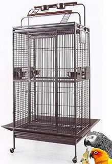 Mcage Jaula de loro de hierro forjado grande Escaleras dobles Abrir / Cerrar Play Top, incluir protector de semillas y Play Top