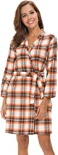 Costyleen Women Short Spa Robes Plaid Homewear Pockets Kimono Lounge Bathrobe