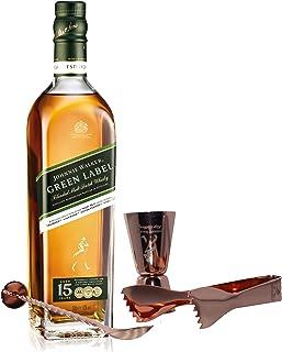 Johnnie Walker Green Label Set mit Bar Besteck, Blended Whisky, 15 Jahre, Scotch, Alkohol, Flasche, 43%, 700 ml