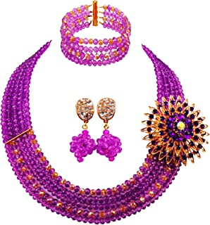 aczuv 5 Rows Nigerian Beaded Jewelry Set Women African Wedding Beads Crystal Necklace and Earrings