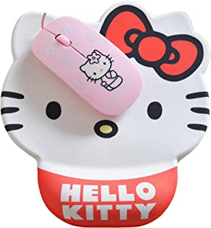 Cartoon Cute Hello Kitty Mouse Pad With Wrist Support Gel Fashion Rest Comfort Mouse Pats (White Red)