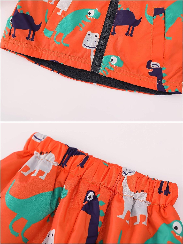 LZH Girls Waterproof Raincoats Set Boys Outdoor Rain Jacket Autumn Keep Warm Kids Printing Rain Coats Rain Pants 2Pcs
