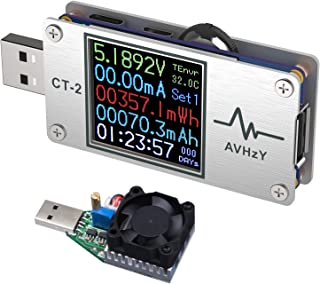 AVHzY USBテスター電流電圧テスターチェッカークイックバッテリー充電器検出器DC6.0000A 26.0000V充電器容量テスターPPSトリガー急速充電PD/QCに適応日本語オペレーティングシステム 日本語説明書付き CSVファイルを出力する (CT2+負荷装置)