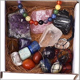 DREAM HOLISTIC Chakra Healing Meditation kit for Balancing Chakras - 7 Chakra Gift Set Tumbled Stones, Rose Quartz, Amethy...