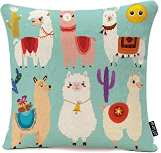 Best oFloral Throw Pillow Covers Abstract of Cute Llamas Cartoon Characters Decorative Throw Pillow Case Home Decor Square Pillowcase 18x18 Inches Cotton Linen Review
