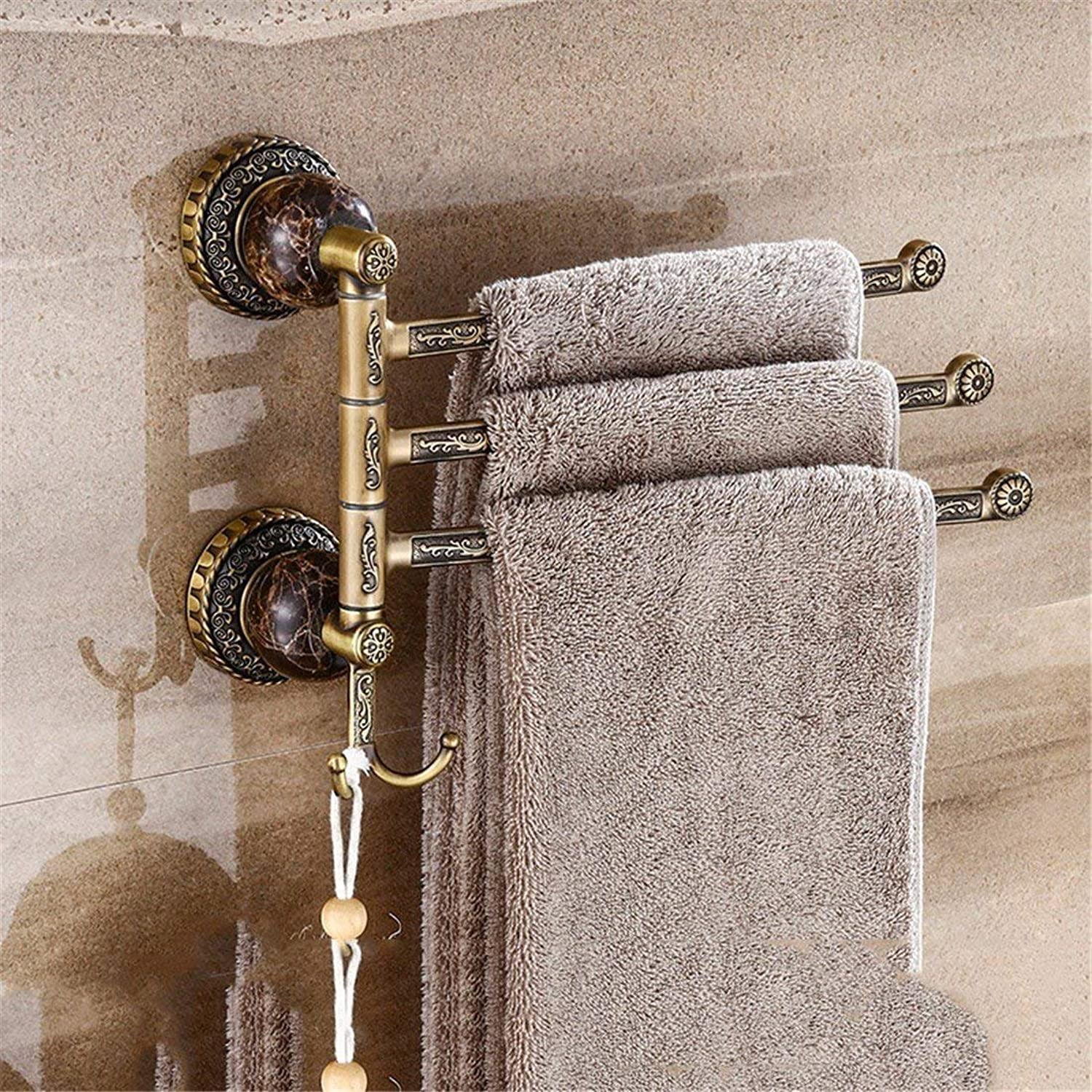 European Style Black Jade Old Old Engraving Copper color Accessories for Bathroom Dry-Towels,Wall-Mount Suspension 3 Bar