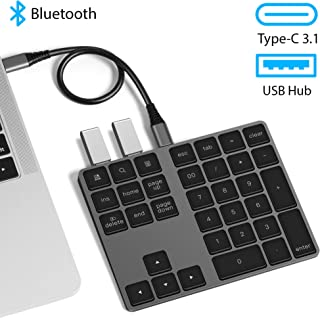 VOAMOKO USB Type-C Wireless Bluetooth Numeric Keypad with USB Hub for MacBook, MacBook Air, MacBook Pro, iPad,Surface Windows Android - External Number Pad for Laptop Tablets - Extended Battery Life