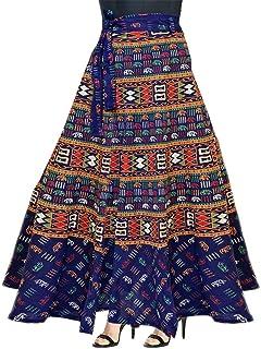 UrbanEra Women's 100% Cotton A-Line Wrap Around Skirt - Free Size