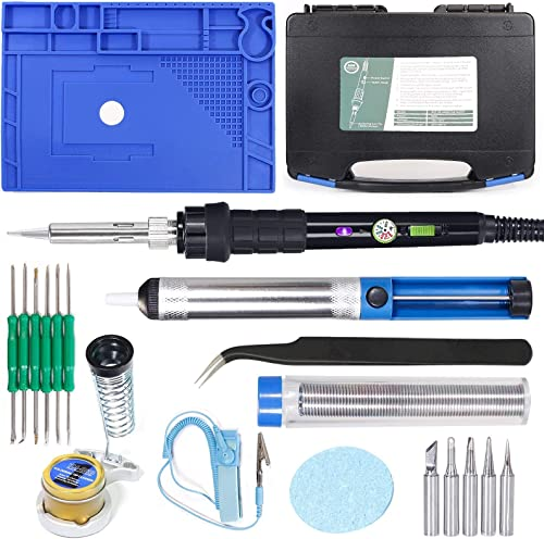 """popular YIHUA 947-III Hand Soldering Iron Kit bundle with with 17.32"""" x 12.20"""" M180 Electronic Repair Mat (assistive hand tools included) with Iron Holder, Soldering Cleaning Kit, popular wholesale and Accessories (21 Items) sale"""