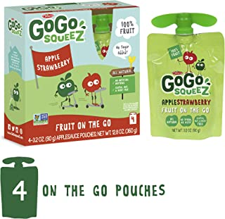GoGo squeeZ Applesauce on the Go, Apple Strawberry, 3.2 Ounce (4 Pouches)