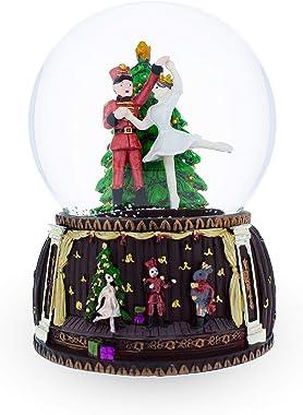 BestPysanky Nutcracker and Ballerina Dancing Around Christmas Tree Musical Snow Globe
