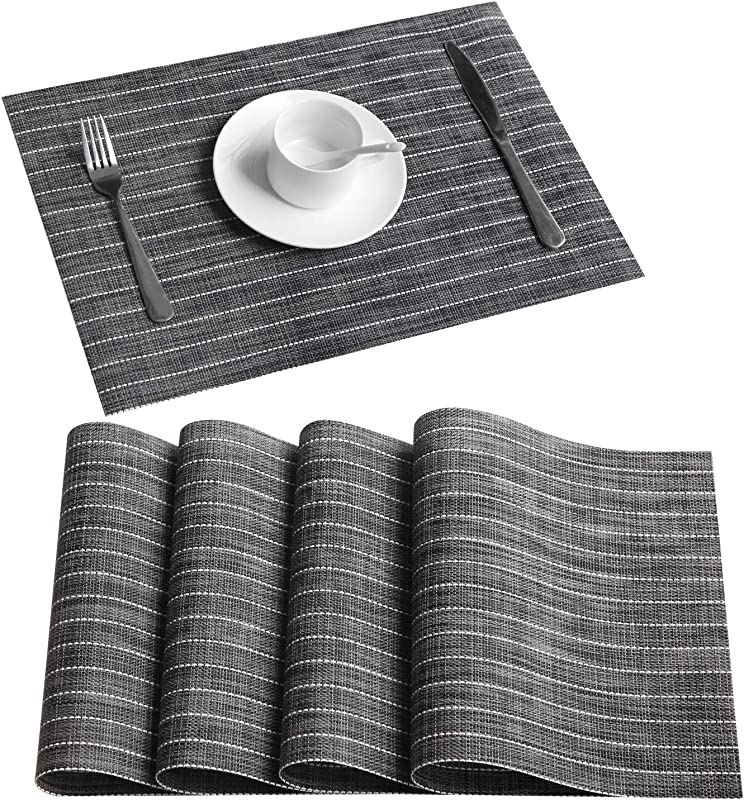 Top Finel PVC Placemats For Dining Table Woven Washable Place Mats For Kitchen Non Slip Table Mats Set Of 4 Grey