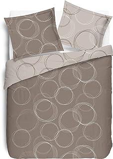 Vision Housse de Couette réversible - Lenny Beige - 240x220cm avec 2 taies d'oreiller - 100% Coton