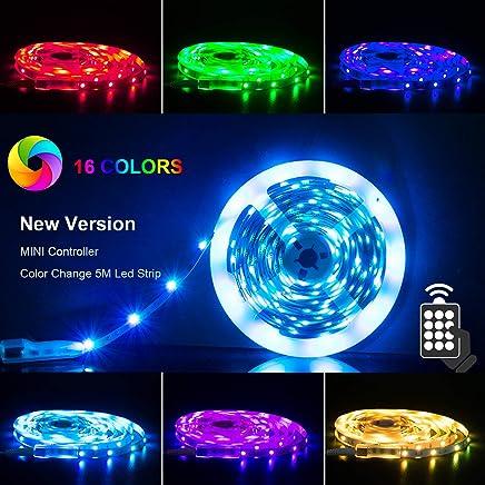 LED Strip RGB 5m LED Strip Light SMD 5050LEDs with Power Supply, Remote Control Led Strips Strip Tape Lighting Strip Lights