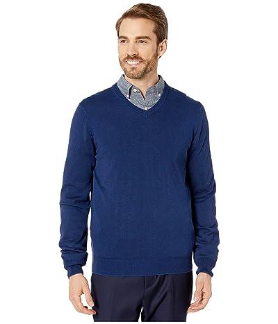 Perry Ellis End-On-End Feeder Stripe Long Sleeve Sweater (Regal Blue) Men