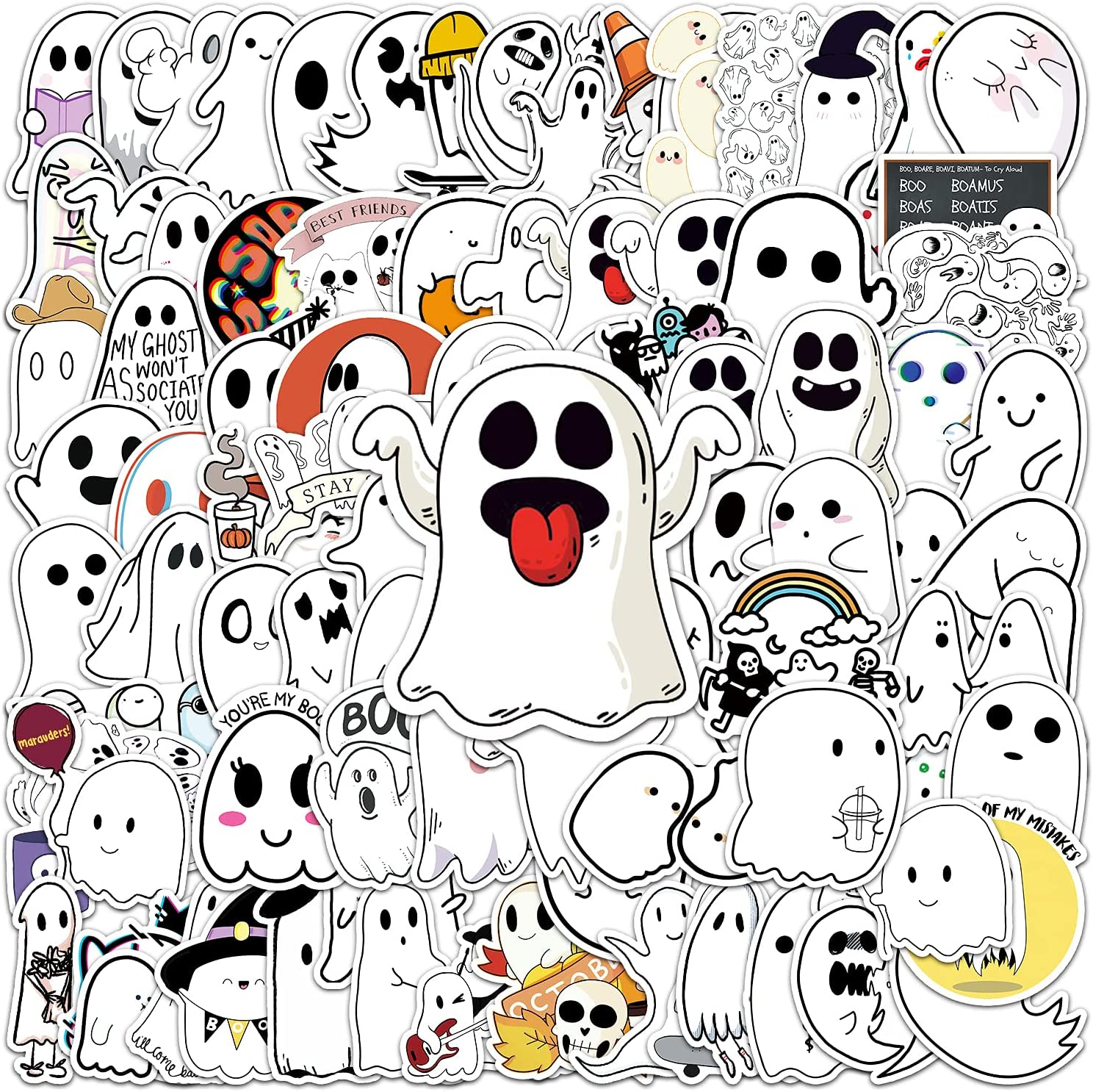 GRACCEE 100PCS Halloween Stickers,Halloween Vinyl Waterproof Cute Ghost Stickers for Laptop Water Bottles Luggage Scrapbook and Gift Decor Stickers