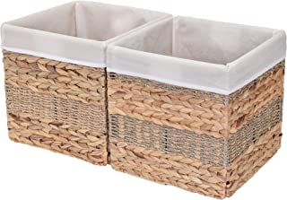 StorageWorks Rectangular Wicker Storage Baskets, Hyacinth and Seagrass Basket with Lining, Medium Baskets for Cube Storage, 10.2