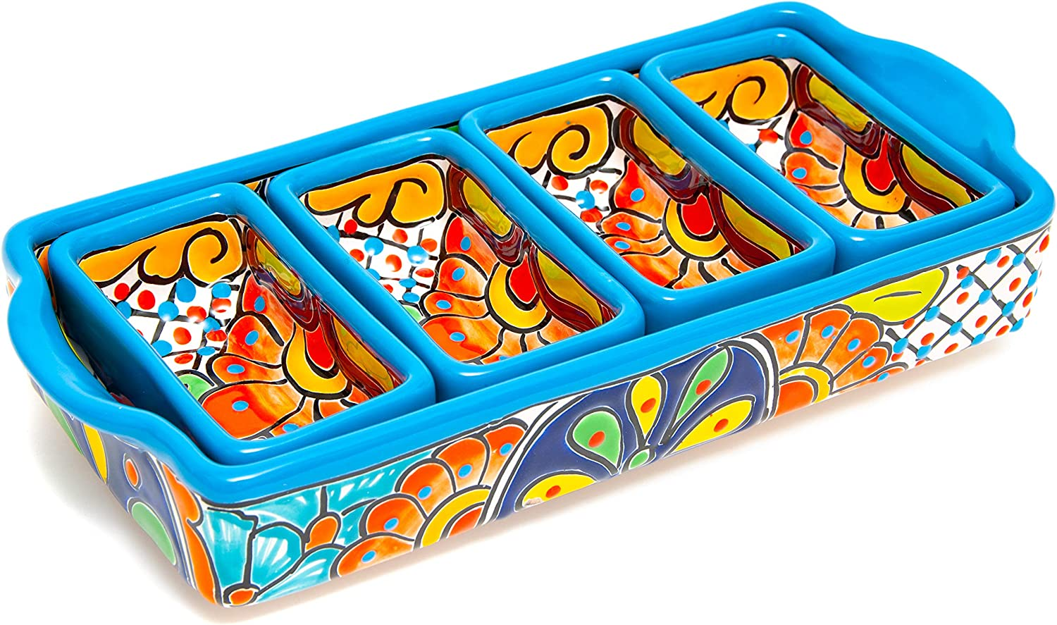 Enchanted Talavera Mexican Pottery Ceramic Tray Appetizer trend Large discharge sale rank Large